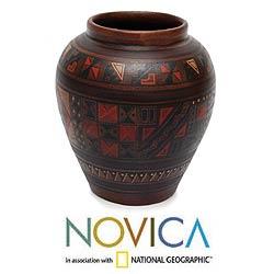Aged 'Labyrinth' Cuzco Vase , Handmade in Peru
