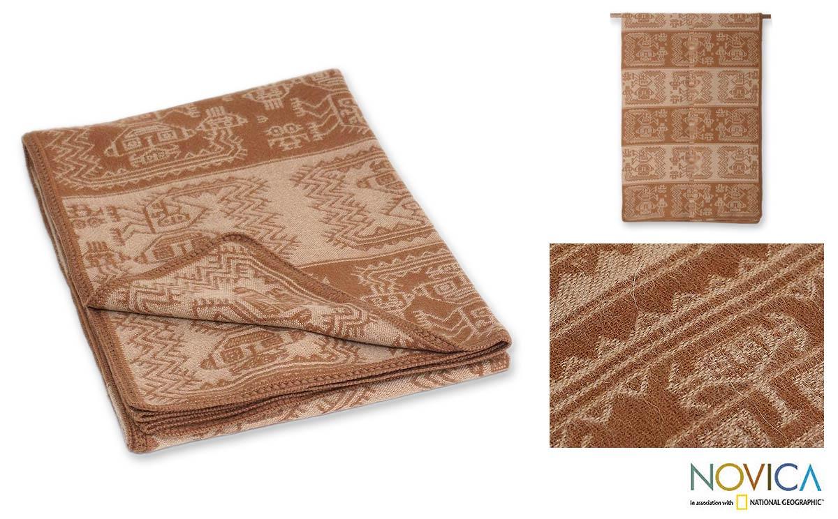 'Paracas Cinnamon' Alpaca Wool Blanket (Peru)