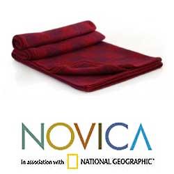 Handmade 'Glyphs in Red' Alpaca Wool Throw Blanket (Peru) - Thumbnail 1