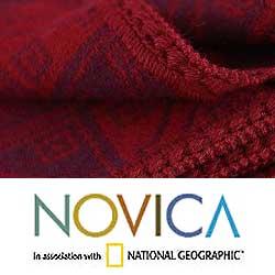Handmade 'Glyphs in Red' Alpaca Wool Throw Blanket (Peru) - Thumbnail 2