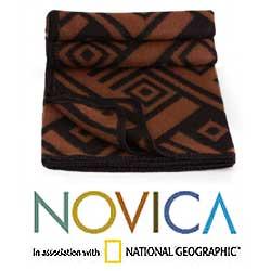 Handmade 'Shadow Labyrinths' Alpaca Wool Throw Blanket (Peru) - Thumbnail 1