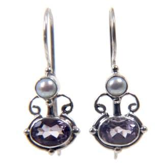 Handmade Silver Amethyst/ Pearl 'Sunrise Spirit' Earrings (Indonesia)