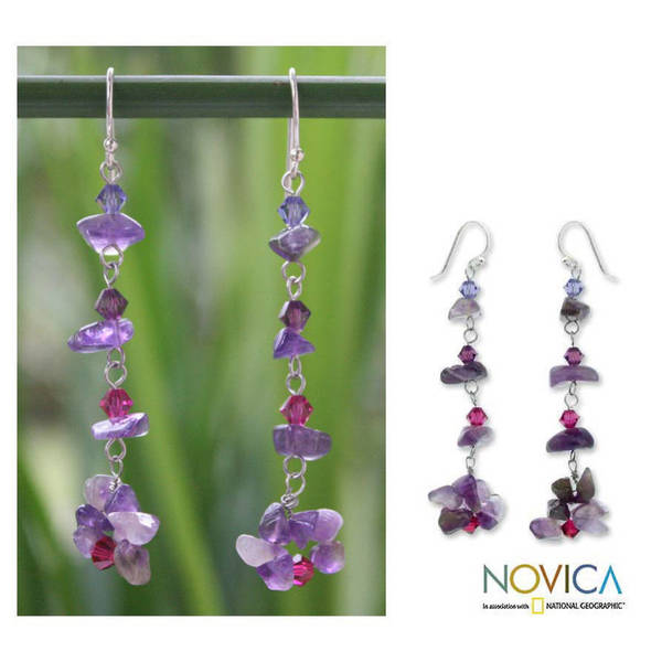 Handmade Sterling Silver 'Colorful Waterfall' Amethyst Earrings (Thailand)