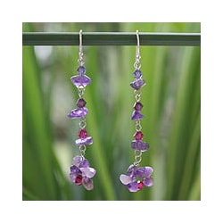 Sterling Silver 'Colorful Waterfall' Amethyst Earrings (Thailand)