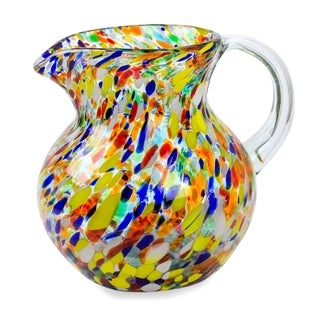 Fiesta Multicolor Everyday Tableware or Hostess Gift Unique Handblown Classic Round Confetti Glass Pitcher (Mexico)