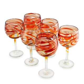 Crimson Clear Red Swirls Set of Six Barware or Tableware Perfect Hostess Gift Stemmed Handblown Round Wine Glasses (Mexico)