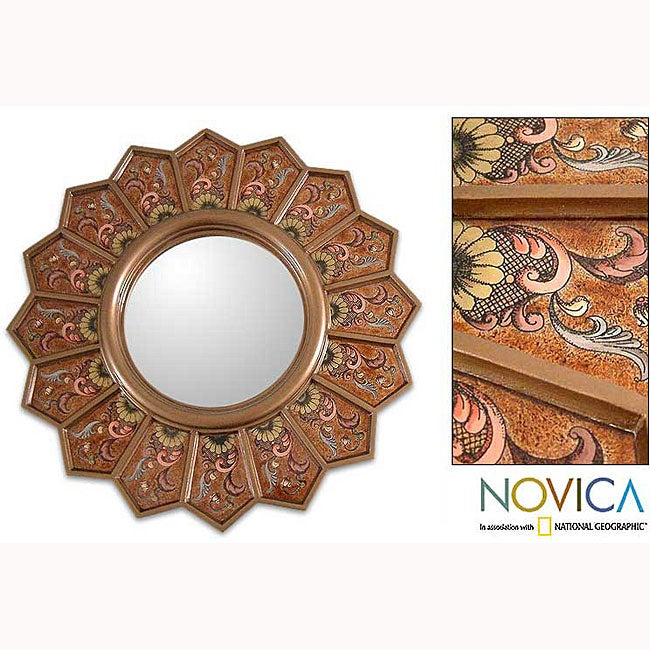 Handmade 'Daisy Fan' Cedar Mirror (Peru)