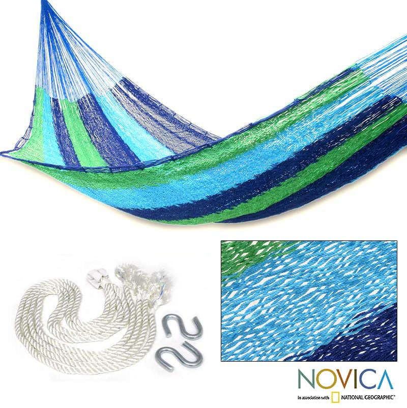 Handmade Cotton 'Ocean Dreams' Single Hammock (Mexico)
