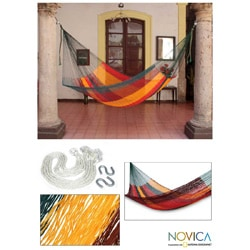 Handmade Cotton 'Red Wine Sunset' Single Hammock (Mexico)