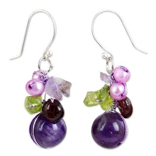 Handcrafted Sterling Silver Garnet/ Amethyst Bright Bouquet Dangling Style Earrings (Thailand)