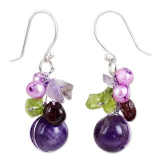 Handmade Sterling Silver Garnet/ Amethyst Bright Bouquet Dangling Style Earrings (Thailand)|https://ak1.ostkcdn.com/images/products/4068368/P12084769.jpg?impolicy=medium