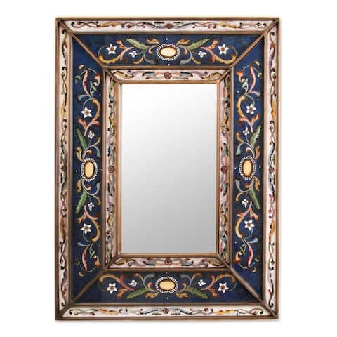 NOVICA Handmade Cajamarca Frost Wood Frame Mirror (Peru) - Blue