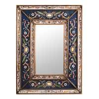 Handmade Cajamarca Frost Wood Frame Mirror (Peru) - Blue