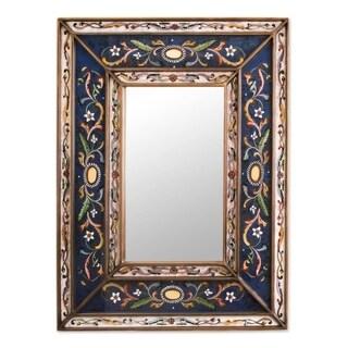 Handmade Cajamarca Frost Wood Frame Mirror (Peru) - Blue - N/A