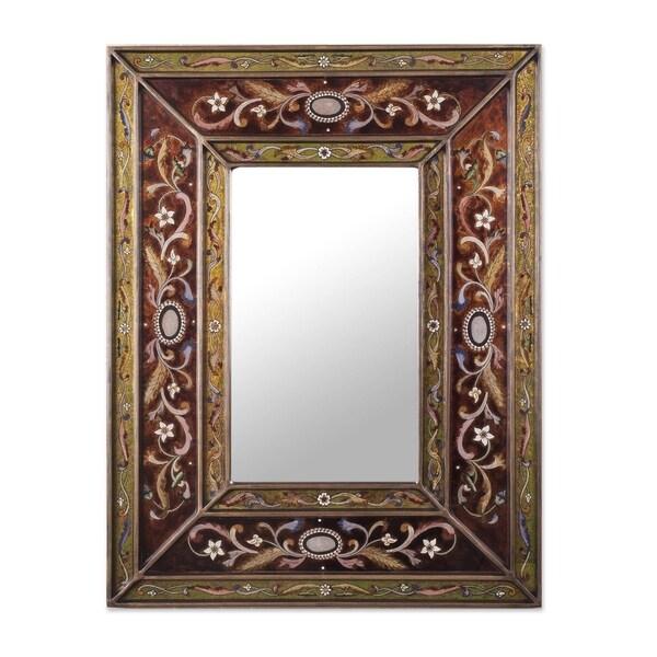 Handmade Cajamarca Warmth Wood Frame Mirror Peru Brown Red