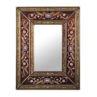 Handmade Cajamarca Warmth Wood Frame Mirror (Peru) - Red
