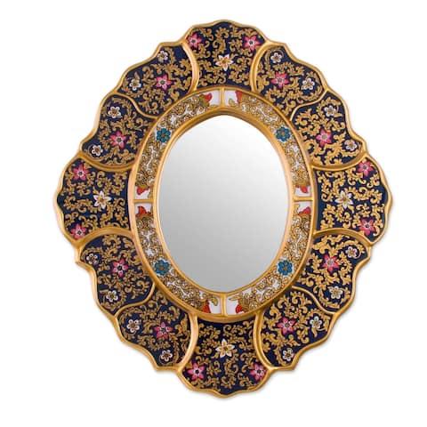 Handmade Garden Gold Reverse Painted Glass Mirror (Peru) - Multi