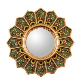 Green Sunflower Fan Reverse Painted Glass Floral Gold Yellow Hallway Bedroom Bathroom Accent Wall Mirror - Brown/Gold