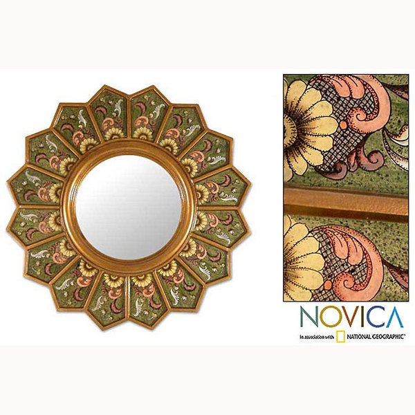 Green Sunflower Fan Artisan Handmade Reverse Painted Glass Floral Gold Yellow Hallway Bedroom Bathroom Accent Wall Mirror (Peru)