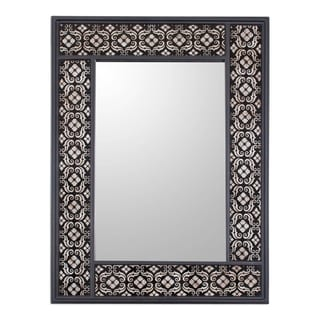 Handmade Silver Blossoms Reverse Painted Glass Floral Mirror (Peru) - Black