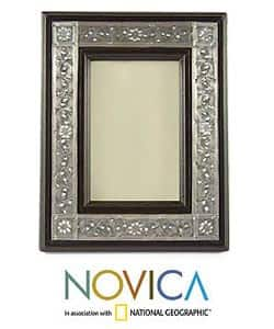 Nickel and Wood 'Serpentine' Picture Frame , Handmade in Thailand|https://ak1.ostkcdn.com/images/products/4068432/Nickel-and-Wood-Serpentine-Picture-Frame-Thailand-P12084828.jpg?impolicy=medium