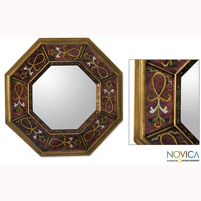 Painted Glass 'Ribbons of Gold' Mirror , Handmade in Peru