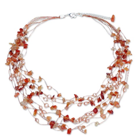 Handmade Silverplated Warm Shower Pearl/ Carnelian Beaded Necklace (Thailand)