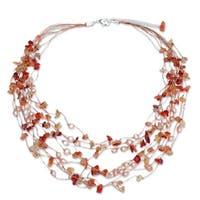 "Handmade Silverplated Warm Shower Pearl/ Carnelian Beaded Necklace (Thailand) - 2""x20.5"""