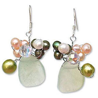 Sterling Silver Pearl and Prehnite 'Elixir' Earrings (Thailand)