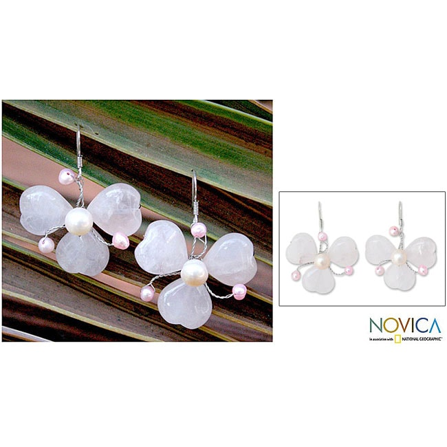 Pearl and Rose Quartz 'Passion in Bloom' Earrings (Thailand)