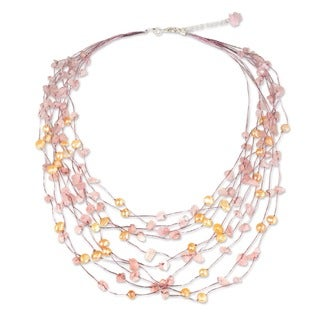 Cascade Pink Pearls and Rose Quartz on Silk Thread Adjustable Length Perfect Bridal Womens Strand Collar Necklace (Thailand)