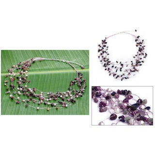 Handmade Pearl and Tourmaline 'Cascade' Necklace (Thailand) - Pink
