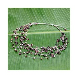 Handmade Pearl and Tourmaline 'Cascade' Necklace (Thailand)