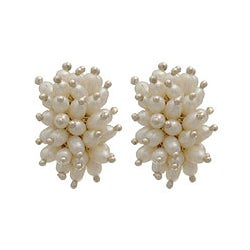 Handmade Silver 'Rice Cluster' Pearl Earrings (Indonesia)