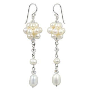 Offer of Grace White Freshwater Pearls with Crystal Accents on 925 Sterling Silver Hooks Womens Long Dangle Earrings (Thailand)|https://ak1.ostkcdn.com/images/products/4068491/P12084881.jpg?impolicy=medium