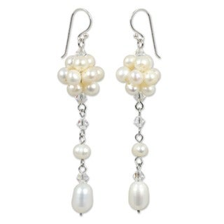 Handmade White Freshwater Pearls with Crystal Accents on 925 Sterling Silver Hooks Long Dangle Earrings (Thailand)
