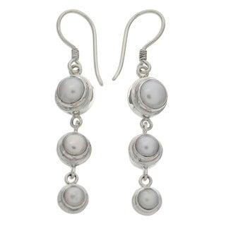 Three Full Moons Handmade Women's Clothing Accessory Sterling Silver White Pearl Jewelry Drop Dangle