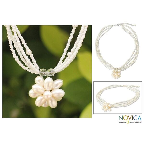Handmade Steel 'Paradise Flower' Pearl Flower Necklace (Thailand)