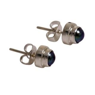 Handmade Sterling Silver 'Purple Moon' Pearl Stud Earrings (Indonesia)