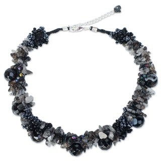 Handmade Sterling Silver Smokey/ Rutile Quartz 'Gush' Necklace (Thailand)