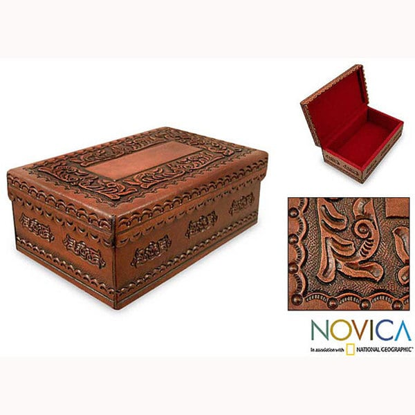 Lope De Vega Style Artisan Handmade Home Decor Floral Motif Brown Morena Wood Decorative Handtooled Leather Keepsake Box (Peru)
