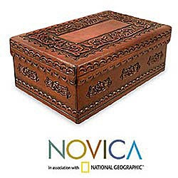 Lope De Vega Style Artisan Handmade Home Decor Floral Motif Brown Morena Wood Decorative Handtooled Leather Keepsake Box (Peru)