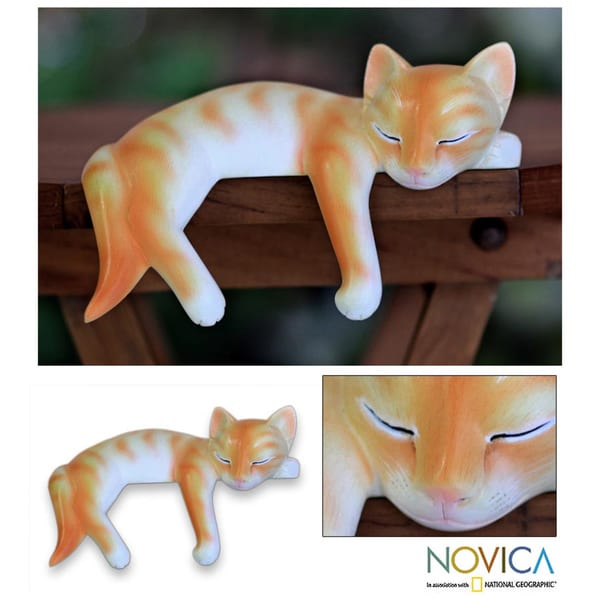 Wood 'Snoozing Ginger Tabby' Statuette (Indonesia)