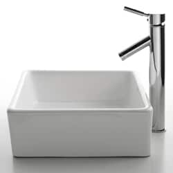 KRAUS Square Ceramic Vessel Sink in White with Sheven Faucet - Thumbnail 1