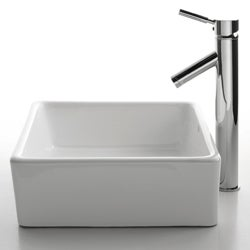 KRAUS Square Ceramic Vessel Sink in White with Sheven Faucet in Chrome - Thumbnail 1