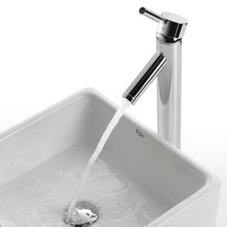 KRAUS Square Ceramic Vessel Sink in White with Sheven Faucet - Thumbnail 2