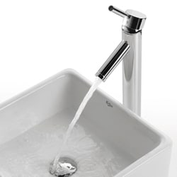 KRAUS Square Ceramic Vessel Sink in White with Sheven Faucet in Chrome - Thumbnail 2