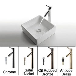 KRAUS Square Ceramic Vessel Sink in White with Sheven Faucet in Chrome