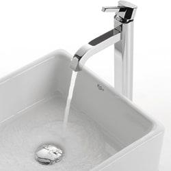 KRAUS Square Ceramic Vessel Sink in White with Ramus Faucet in Satin Nickel