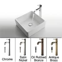 KRAUS Square Ceramic Vessel Sink in White with Ramus Faucet